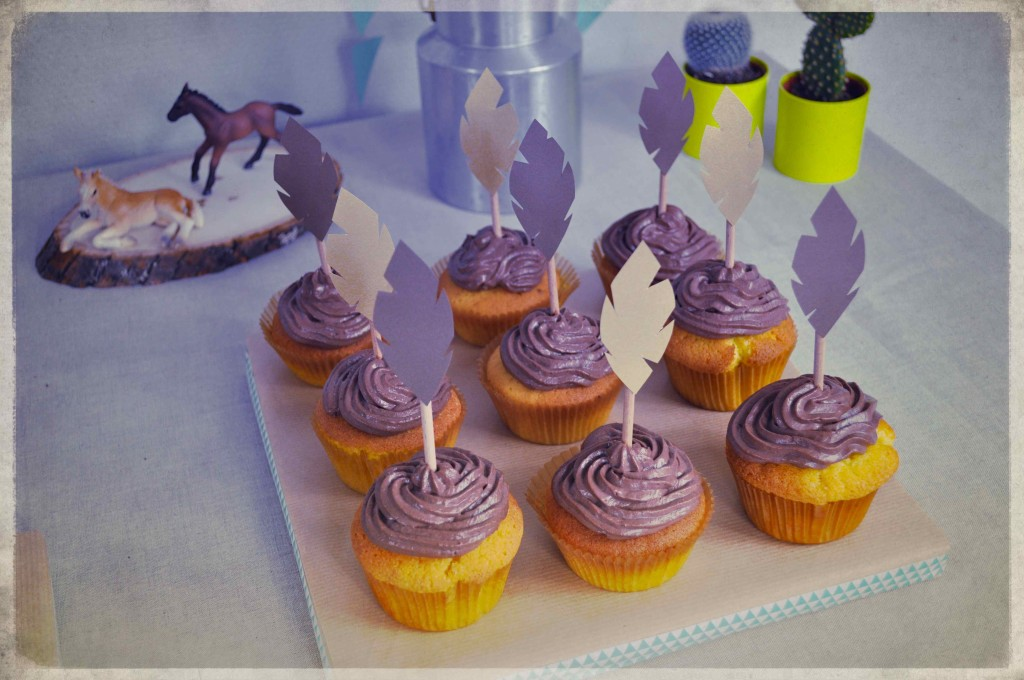 cupcakes toppers plumes