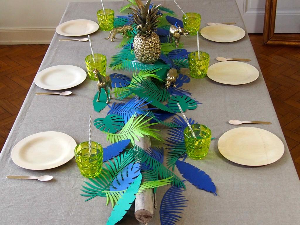 décoration de table jungle