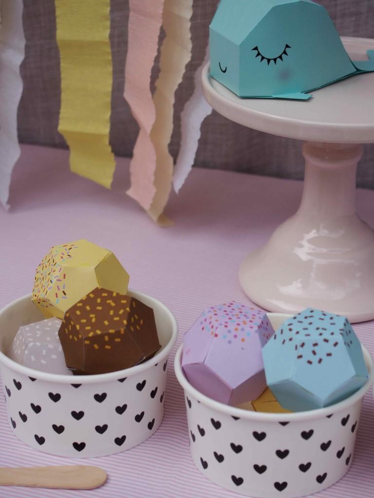 boules glace en papier