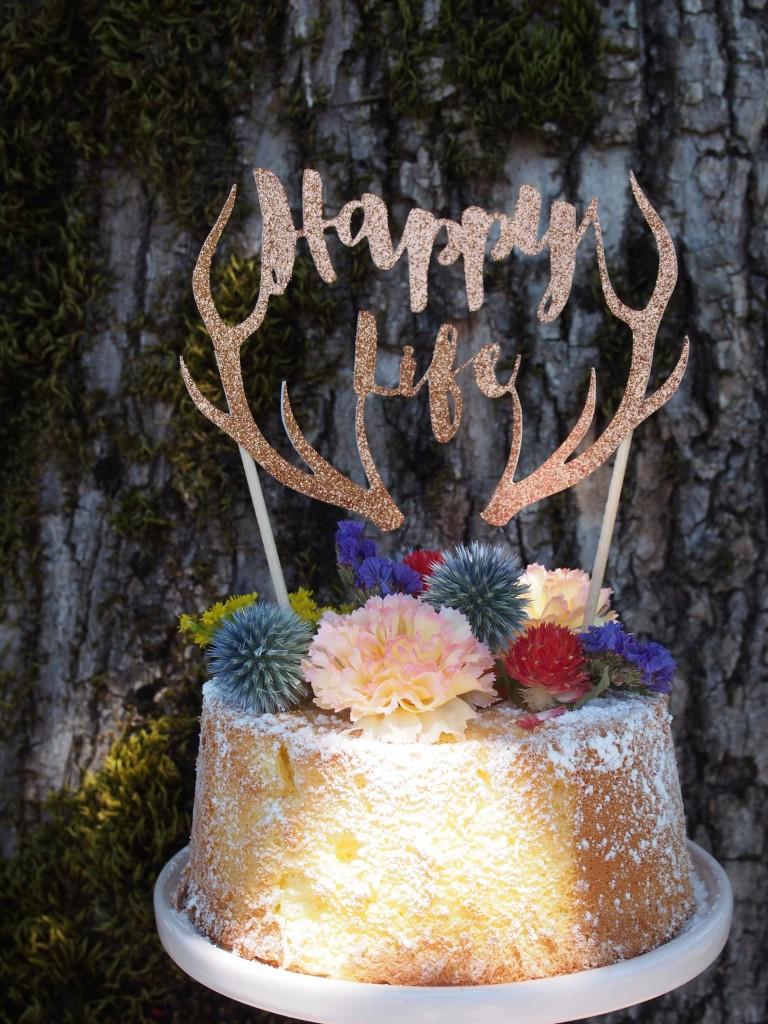 Topper gâteau personnalisé happy life