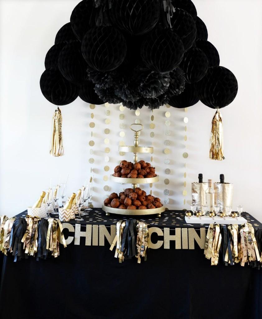 décoration fête noir et doré