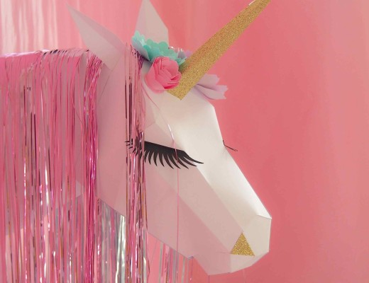 trophée licorne en papier