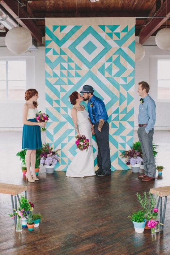 décoration de mariage géométrique