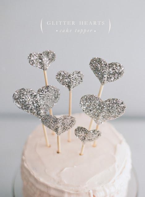 cake topper coeurs glitter