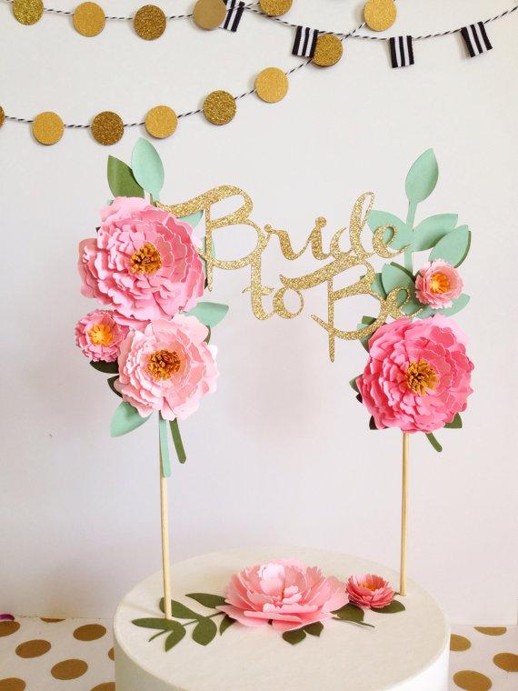 cake topper fleurs