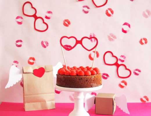 cake topper lunettes coeur