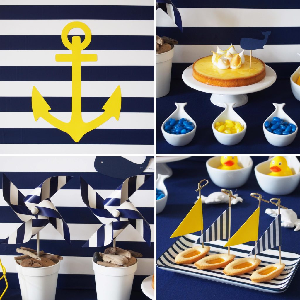 décoration anniversaire rayures marine
