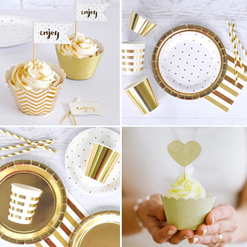 vaisselle anniversaire doré métallique