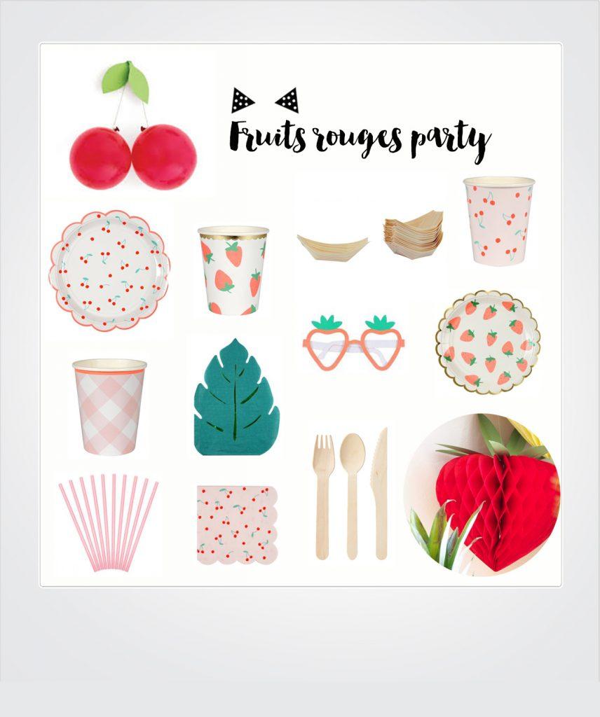 anniversaire thème cerises fraises
