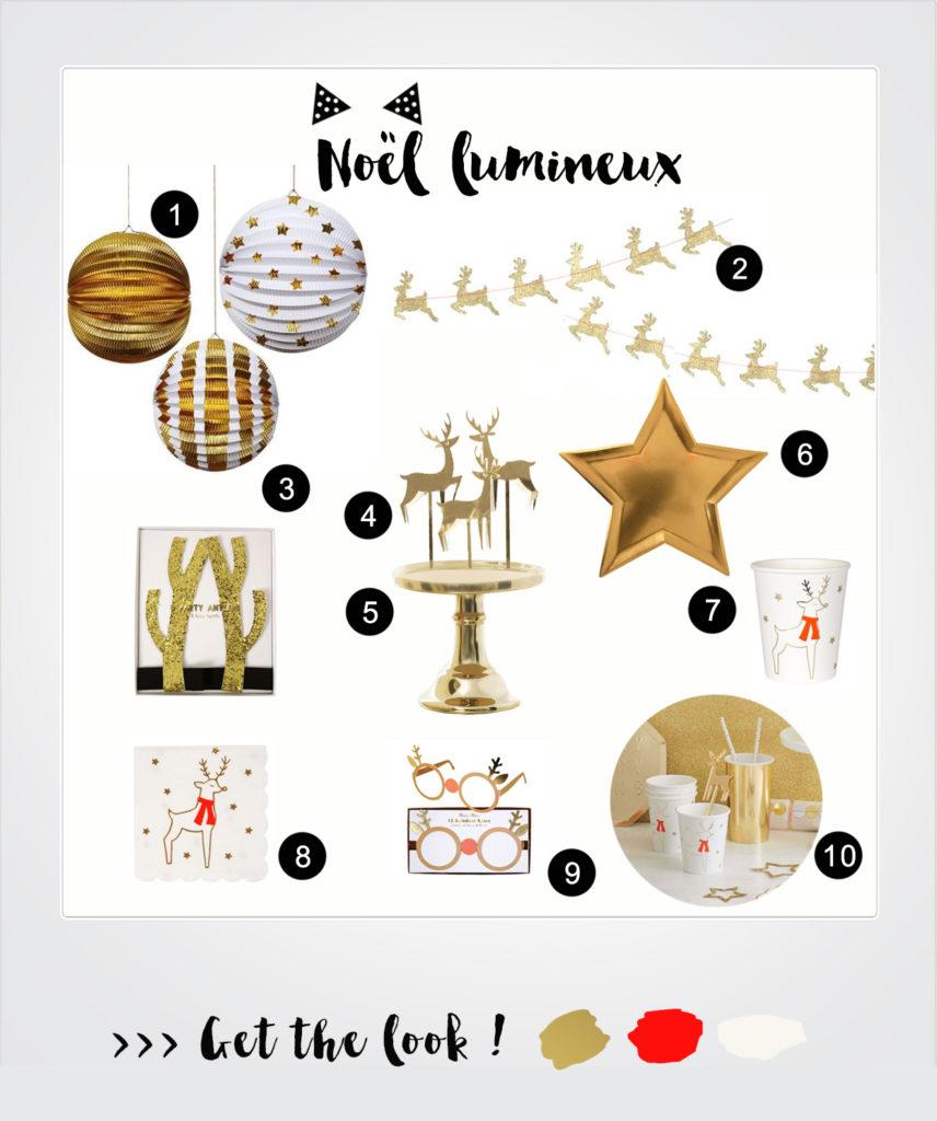 table Noël doré et blanc