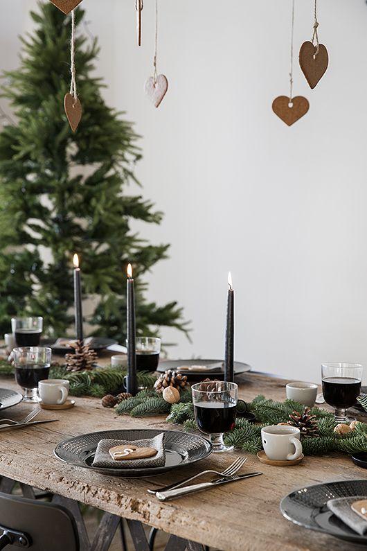 décoration de table Noël végétal