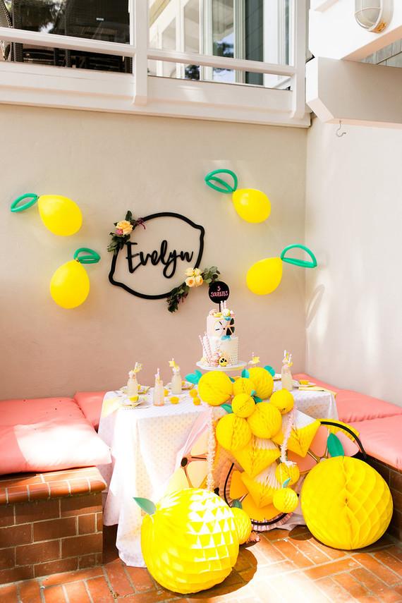 table de fête thème citrons