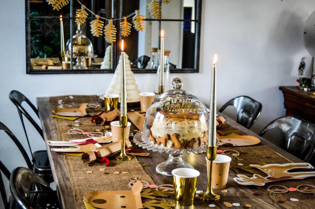 décoration table de Noël doré et kraft
