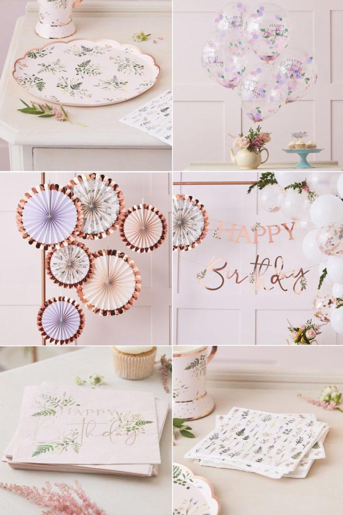 anniversaire vaisselle thème fleurs