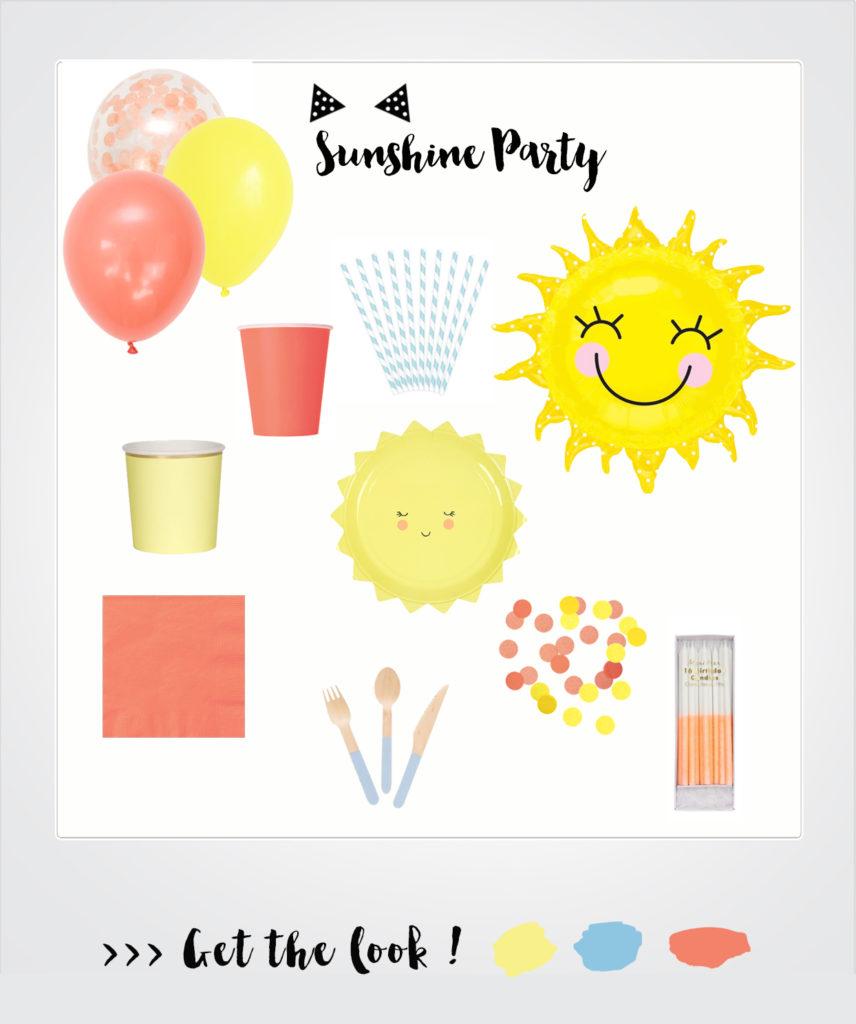 vaisselle anniversaire soleil