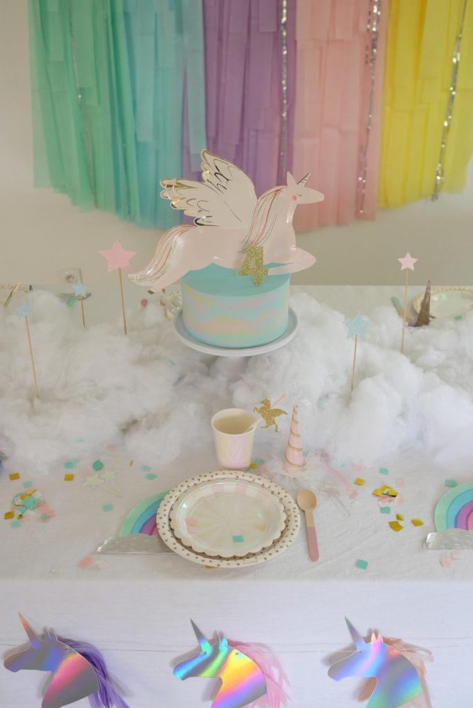 anniversaire table licorne pastel