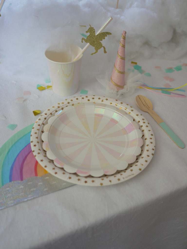 anniversaire vaisselle licorne