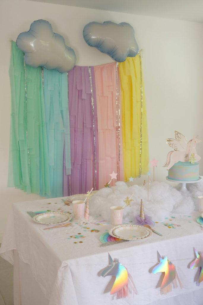 décoration anniversaire pastel licorne