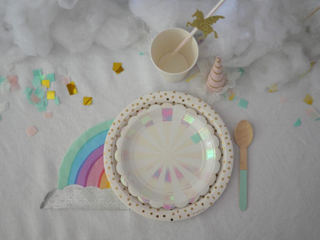 vaisselle licorne anniversaire